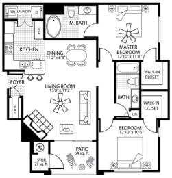 1060 square Feet, 2 bedroom 2 bath, D1 Floorplan