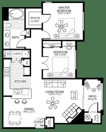 970 square Feet, 2 bedroom 1 bath, B1 Floorplan