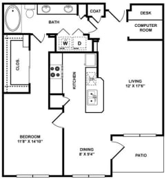 A3 Floor Plan at The Plaza Museum District, Texas
