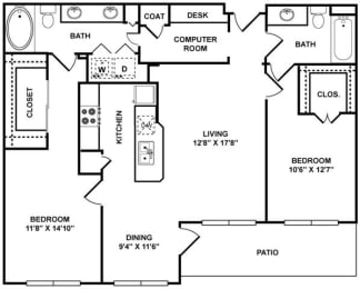 D1 Floor Plan at The Plaza Museum District, Houston, TX, 77004