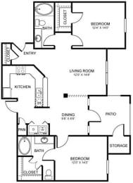 D2 Floor Plan at Stoneleigh on Spring Creek, Garland, TX, 75044