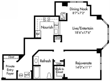A6/A8 Floor Plan at HighPoint, Quincy, 02169