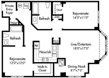 D4 Floor Plan at HighPoint, Quincy, MA