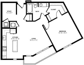 A17 Floor Plan at Berkshire Terminus, Atlanta, GA