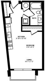 Studio 3 Floor Plan at Berkshire Terminus, Atlanta, Georgia