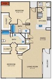 D2 Floor Plan at Estates at Bellaire, Texas