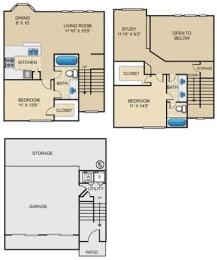 D3T Floor Plan at Estates at Bellaire, Texas, 77081