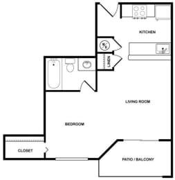 Studio B Floor Plan at Fountains at Lee Vista, Florida, 32822