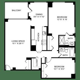 2x2 Floor Plan at Towne House, Missouri
