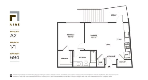 A2 Floor Plan at Aire, California, 95134