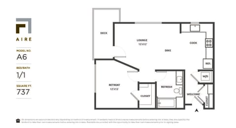 A6 Floor Plan at Aire, San Jose, CA, 95134