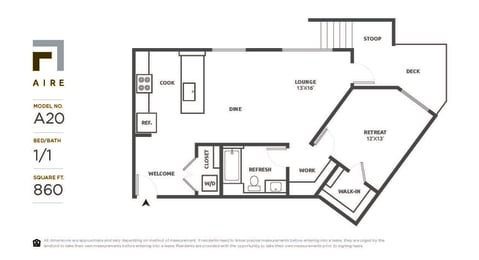 A20 Floor Plan at Aire, San Jose, CA, 95134