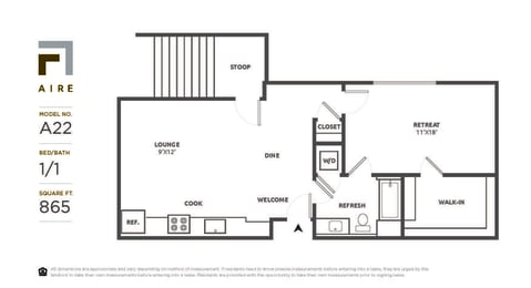 A22 Floor Plan at Aire, San Jose, 95134