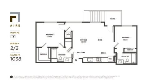 D1 Floor Plan at Aire, San Jose, California