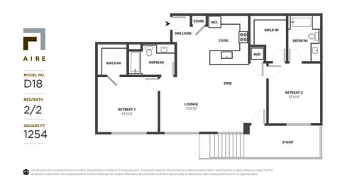 D18 Floor Plan at Aire, San Jose