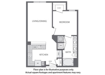 Floor Plan  B - 1 Bedroom 1 Bath Floorplan at Windsor at Cambridge Park, Cambridge, MA