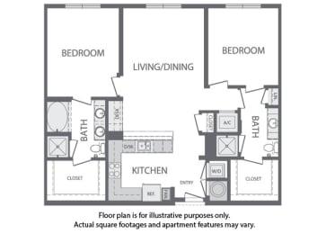 K - 2 Bedroom 2 Bath Floorplan at Windsor at Cambridge Park, Cambridge, 02140