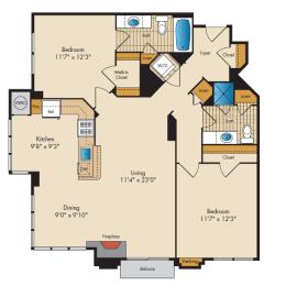 2 Bedroom 2B Floor Plan at Highland Park at Columbia Heights Metro, Washington