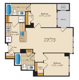 2 Bedroom 2G Floor Plan at Highland Park at Columbia Heights Metro, Washington