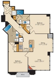 2 Bedroom 2A Floor Plan at Highland Park at Columbia Heights Metro, Washington, 20010