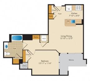 1 Bedroom 1K Floor Plan at Highland Park at Columbia Heights Metro, Washington, Washington