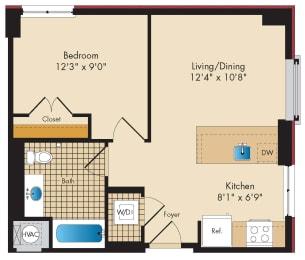 1 Bedroom B2 Floor Plan at Highland Park at Columbia Heights Metro, Washington, DC
