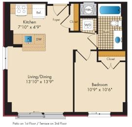 1 Bedroom B1.1 Floor Plan at Highland Park at Columbia Heights Metro, Washington, DC, 20010