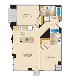 2 Bedroom 2C Floor Plan at Highland Park at Columbia Heights Metro, Washington, 20010
