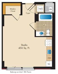 Studio A4 Floor Plan at Highland Park at Columbia Heights Metro, Washington