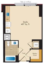 Studio A7 Floor Plan at Highland Park at Columbia Heights Metro, Washington, DC