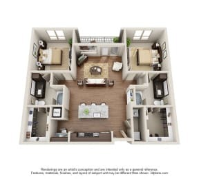 Two Bedroom | Two Bathroom Floor Plan at ALARA Uptown, Dallas, 75204