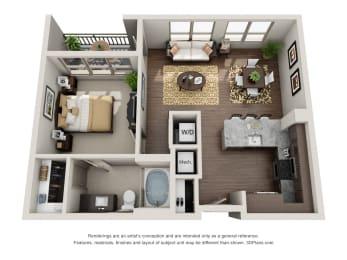 One Bedroom | One Bathroom Floor Plan at ALARA Uptown, Texas