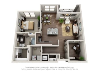 One Bedroom | One Bathroom Floor Plan at ALARA Uptown, Dallas, Texas