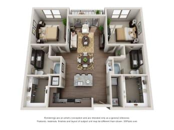 Two Bedroom | Two Bathroom Floor Plan  at ALARA Uptown, Texas, 75204