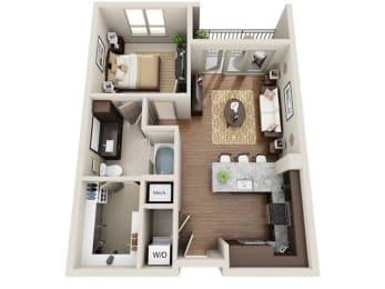 One Bedroom | One Bathroom Floor Plan at ALARA Uptown, Texas, 75204