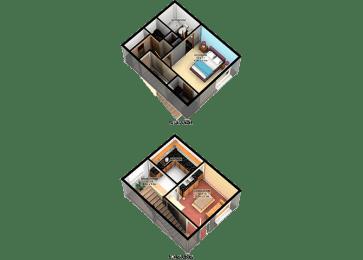 A3 One Bedroom One Bathroom FloorPlan at Carelton Courtyard, Galveston