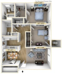 Buckingham Two Bedroom Floor Plan at Windsor Place, Davison, MI