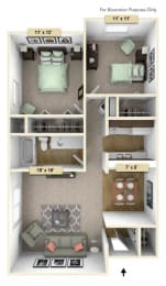 Redwood Two Bedroom Floor Plan at Perry Place, Grand Blanc, MI