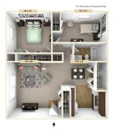 Heritage - Two Bedroom One Bath Floor Plan at Huntington Place, Essexville, 48732