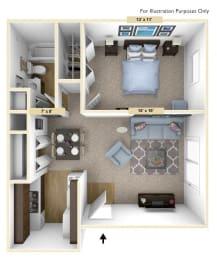 Legacy - One Bedroom One Bath Floor Plan at Huntington Place, Michigan, 48732