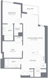 A3 Floor Plan at Element 28, Bethesda, 20814