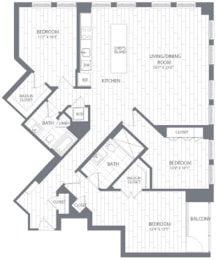 C1 Floor Plan at Element 28, Bethesda, Maryland