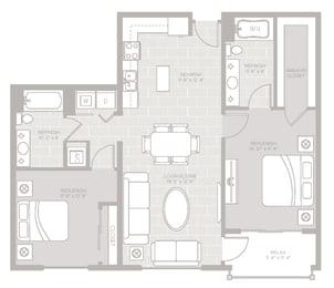 Cape Floor Plan at Berkshire Lauderdale by the Sea, Ft. Lauderdale, FL
