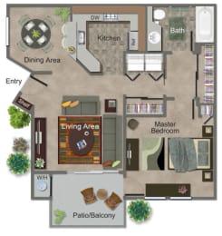 Large 1 Bed, 1 Bath Floor Plan at Renaissance Apartment Homes, Santa Rosa, CA, 95404