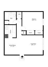 1 Bedroom Garden Apartment FloorPlan at Dannybrook Apartments, Williamsville, NY, 14221