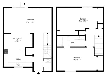 Two Bedroom - Phase I at Collett Woods Townhouses, Farmington,New York