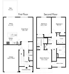 Three Bedroom - Phase II at Collett Woods Townhouses, Farmington