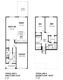 Floor Plan 2 Bedroom Townhouse - Phase III