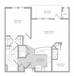 A1D Floor Plan at AVE Newtown Square, Newtown Square, 19073