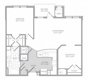 A3D Floor Plan at AVE Newtown Square, Pennsylvania